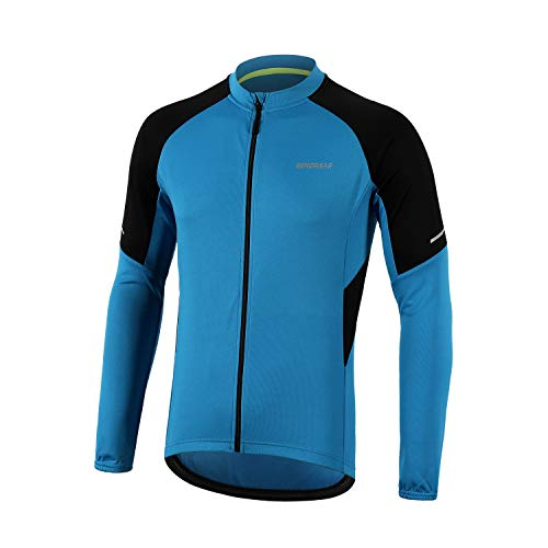 BERGRISAR Men's Basic Cycling Jerseys Long Sleeves Bike Bicycle Shirt Zipper Pockets BG012 Light Blue Size X-Large