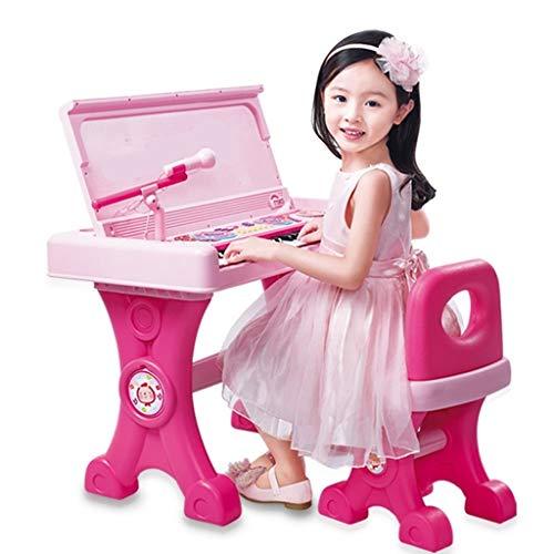 HXGL-Tastatur Kinder Klavier Schreibtisch Multifunktions-Tastatur Anfänger Spielzeug Mädchen 3-6 Jahre Alt Schreibtisch Tastatur Double Power Supply Mode (Color : Pink)