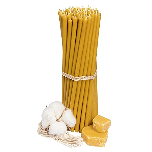 Ritual Candles Greek Candles Athos with Beeswax Yellow 50 Pieces L 18.5 cm Diameter 6.1 mm Burn Time 60 Min: Natural, Drip Free, Smokeless Thin Altar Candles Church Quality with Beeswax No. 80
