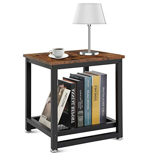 Senhuok Industrial End Table, 2-Tier Side Table, Vintage Nightstands, Wood and Metal Nightstand with Storage Shelf Adjustable Feet, Perfect for Bedroom, Living Room, Study Room