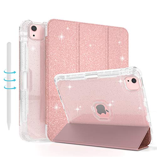 Sevrok iPad Air 4th Generation case, iPad 10.9 inch Case 2020 with Apple Pencil Charging Holder, Smart Sleep/Wake Function, Glitter Sparkly Cover, Shiny Clear Back with iPad air 4 case (Rose Gold)