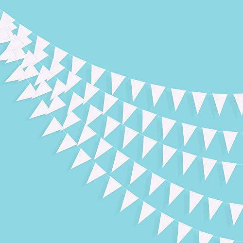 40 Ft Triangle Flags Banner Double Sided Pearly White Paper Pennant Bunting Guirnalda para boda, baby Bridal Shower Cumpleaños Aniversario Addio a la solapa Suministros para decoración navideña