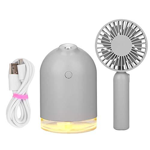 Draagbare Mini USB Opladen Huishoudelijke Luchtbevochtiger Afneembare Ventilator Nachtlampje Klein Persoonlijk voor Buiten Kantoor Thuis Kamperen Reizen(grijs)