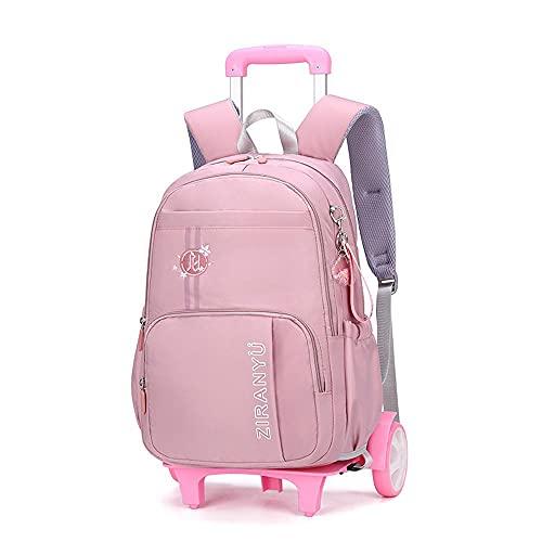 QWEIAS Maleta de equipaje con ruedas para niños Bolsas escolares desmontables para estudiantes primarios Trolley Mochila impermeable para niños ruedas ruedas rosa-grande