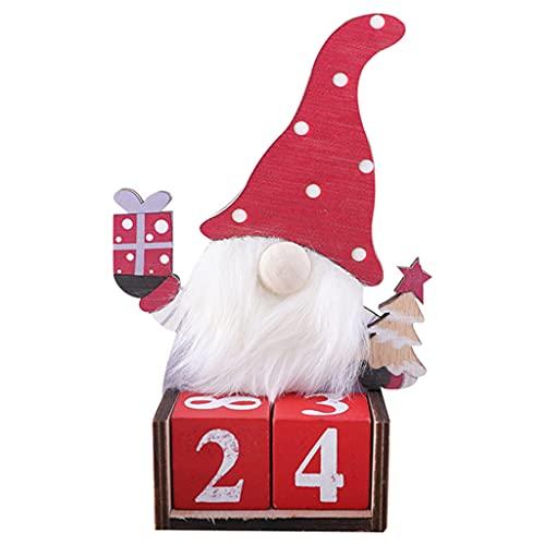 XiJINkanhh Calendario de cuenta regresiva de madera para Navidad, lindo gnomo sin rostro, calendario sueco Tomte, bloque de bricolaje, oficina, decoración de escritorio regalos