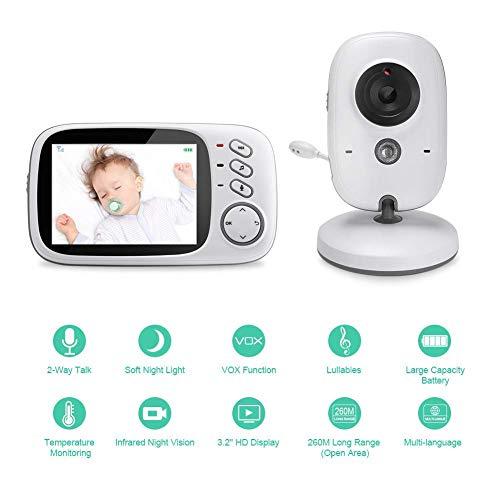 QLPP Babyphone mit Kamera Video Babyphone Wireless 3,2 Zoll Digital Babyphone Lullaby Funktion Nachtsicht Temperaturüberwachung 2-Wege-Gespräch