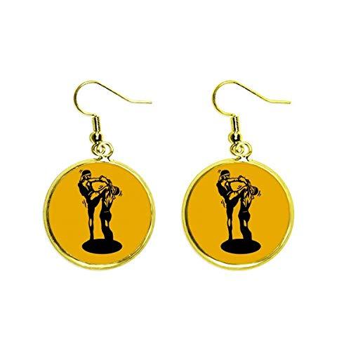 Muay Thai - Pendientes colgantes de oro para mujer