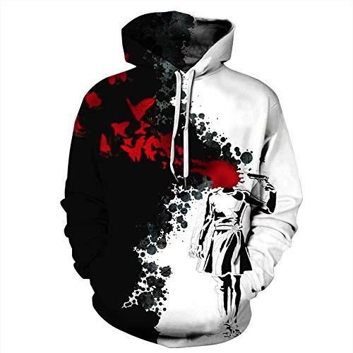 3D Druck Hoodie Unisex,Unisex Fashion 3D Gedruckt Abstrakte Dark Girl Graffiti Lose Hippie Pullover Mit Kapuze Hoodie Sweatshirt Sportlich Leger Mit Taschen Paar Baseball Uniform Für Schüler Top Coa