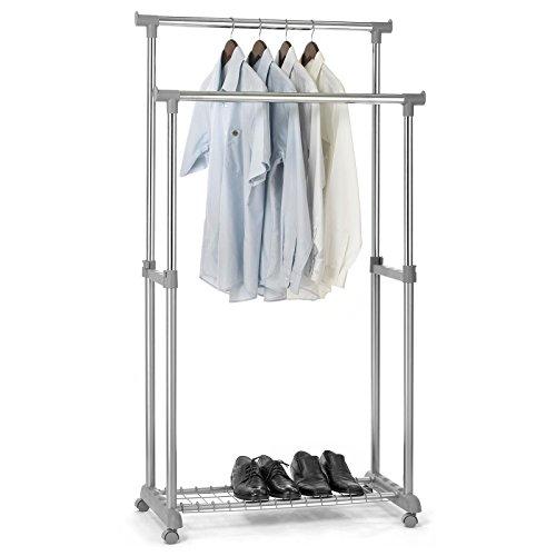 IDIMEX Garderobenwagen Grosso Kleiderständer Rollgarderobe Garderobenständer, mit Schuhablage, 2 Kleiderstangen, höhenverstellbar, Metallrohr verchromt