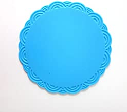 JCBIZ Pack of 4 Silicone Coaster Thickened Food Grade Silicone Mat Non-Skid Heat Resistant Round Cup Bowl Dish Pattern Stamped Mat Tableware Placemat S Size 10.5x10.5x0.2cm Blue
