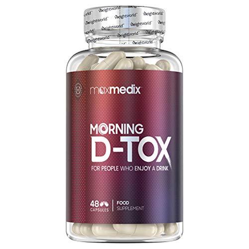 Pastillas para la resaca Morning D-Tox - Complejo Vitamínico con Antioxidantes, Reduce y Previene Síntomas De La Resaca, Aporta Energía, Desintoxicación del Hígado, Evita Nausea, 48 Cápsulas