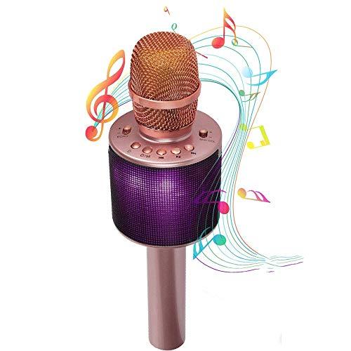 Bluetooth-Karaoke-Mikrofon-Wireless-Karaoke-Mikrofon-kann mit einem Duo mit Dual Color LED-Leuchten und 5W Lautsprecher gekoppelt werden (Rose Gold) GAONAN