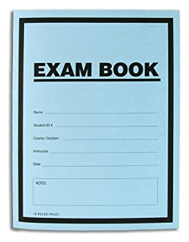 BookFactory Exam Blue Book/Blue Exam Book/Blue Test Book  10 Book Pack   Ruled Format - 8.5  x 11  - 16 Numbered Pages  Saddle Stitched  LAB-016-7RSS  Exam Book 10 PK