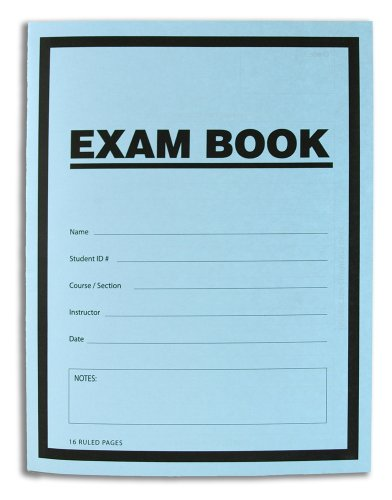 "BookFactory Exam Blue Book/Blue Exam Book/Blue Test Book (10 Book Pack) (Ruled Format - 8.5"" x 11"" - 16 Numbered Pages) Saddle Stitched (LAB-016-7RSS (Exam Book)10 PK)"