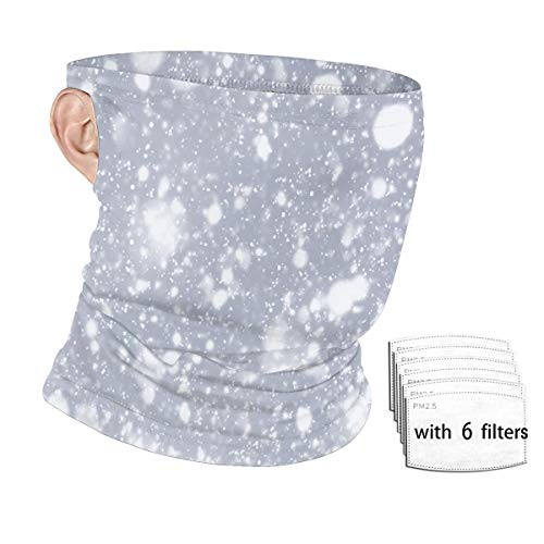 Bandana Face Mask with Filters,Reusable Balaclava Face Mask Cloth Face Mask Washable-Snowflakes and Bokeh Or Glitter Lights On Silver