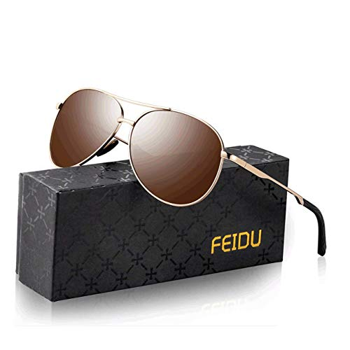Sonnenbrille Herren Polarisierte Sonnenbrille Damen - Metallrahmen Polarisiert sonnenBrille Herren Fahren Unisex UV400 FD9002 (Z-brown, 2.28)