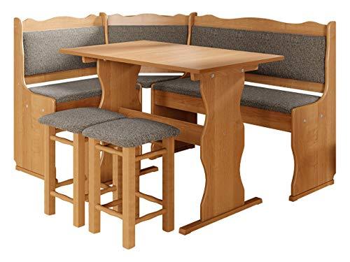 Eckbankgruppe Miki, Erlenholz, Eckbank Gruppe besteht aus Kücheneckbank, 2X Hocker, Tisch, Farbauswahl, Esszimmer Sitzbank (Erle, Peru 10)