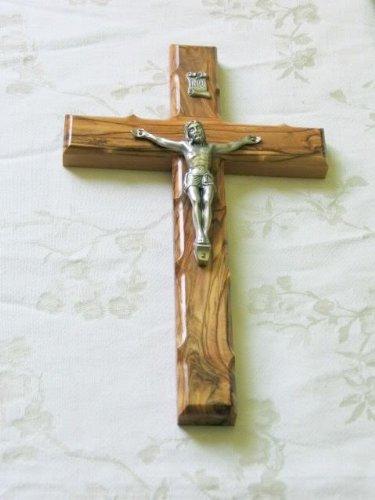 "Wandkreuz Kruzifix Olivenholz Bethlehem Heiliges Land Jerusalem 10"""