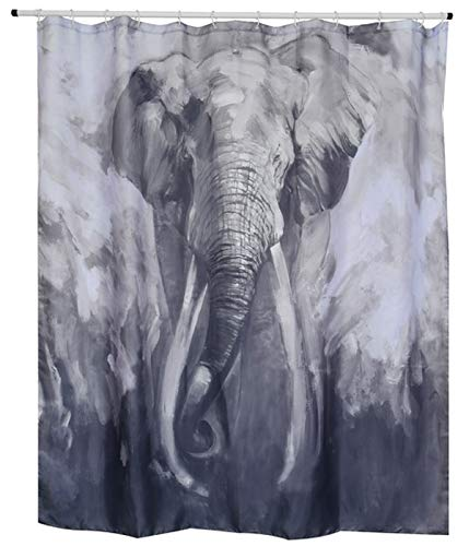 """Spirella Anti-Schimmel Duschvorhang - Anti-Bakteriell, waschbar, wasserdicht, Polyester, """"Elefant"""" 180x200 cm"""