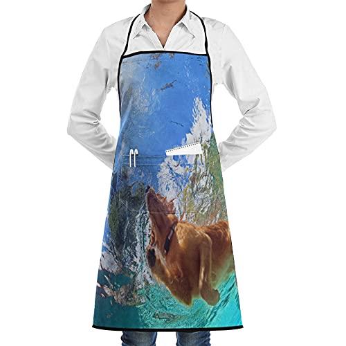 LOSNINA Delantal de cocina impermeable para delantal mujeres,Foto submarina de Golden Labrador Retriever cachorro en la piscina al aire libre Jugar con diversión - Saltar y bucear en lo profundo