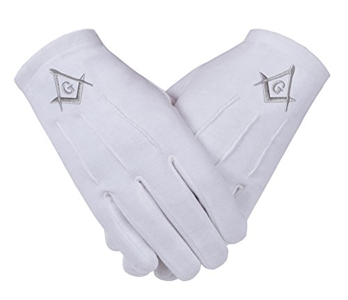 Gants maçonniques francs-maçons en coton blanc avec SC&G en argent pour hommes en taille Large