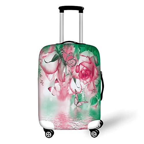Reizen Bagage Cover Koffer Beschermer, Basketbal, Abstract Sport Achtergrond Branden Basketbal met Digitale Reflectie Art Print,Blauw Geel, voor Reizen