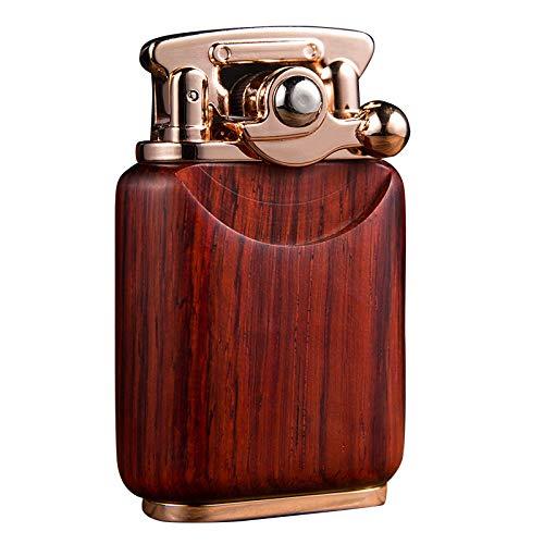 YIYA 純粋な手作りビャクダンシェル灯油綿コアクラシックレトロスタイル木製のライター 安全保護 防風 オイルライター 父の日 贈り物 シガーライター