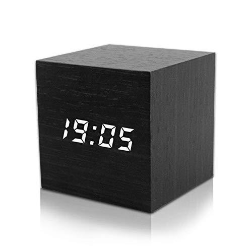 ASANMU LED Digital Wecker, Mini Holz Wecker Digital LED Hölzerne Digitaler Wecker Tischuhr Reisewecker Uhr Zeit Datum Temperaturanzeige - Stimme und Berührung aktiviert - USB Kabel/Batteriebetriebener