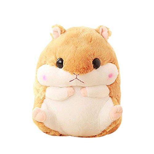 Süß Kuschelig Hamster Flauschig Plüschkissen Mit Fleece-Decken Weiches Spielzeug Plüschtiere Stoffspielzeug Gemütlich Baby Kissen Kinderzimmer Dekoration für Hamsterfans (1 Hamsterkissen, Kaffee)