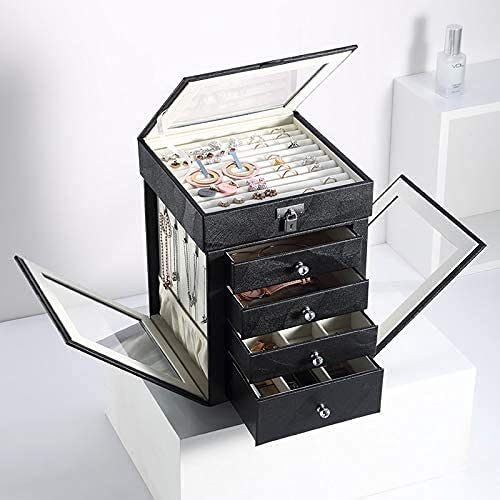ZHENAO Caja de Joyería 5 Capas de Joyería Grande Joyería Giratoria Pantalla Pendientes Arances Cajas de Anillos Organizador de Joyería Portátil