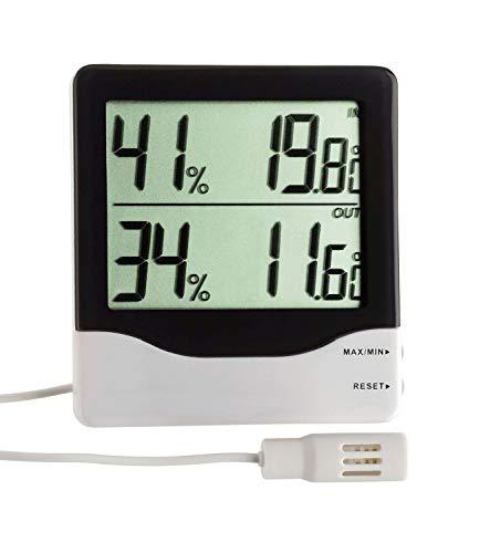 TFA Dostmann digitale thermo-hygrometer voor binnen- en buitenklimaat, maximum- en laagste waarde