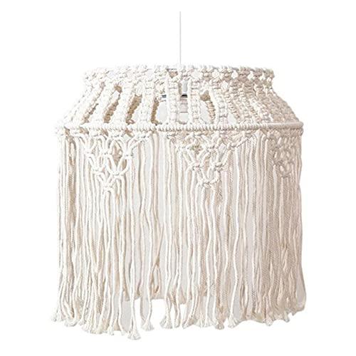 MSRRY Lámpara tejida a mano Macramé lámpara dormitorio decorativo lámpara colgante cubierta de luz decorativa hogar