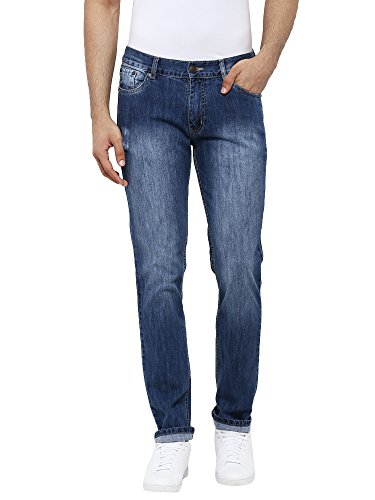 AMERICAN CREW Men's Straight Fit Jeans (ACJN417_Mid Blue_32W x 32L)