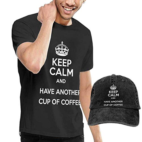 Baostic Herren Kurzarmshirt Keep Calm Another Cup Coffee Fashion Men's T-Shirt Hats Youth & Adult T-Shirts