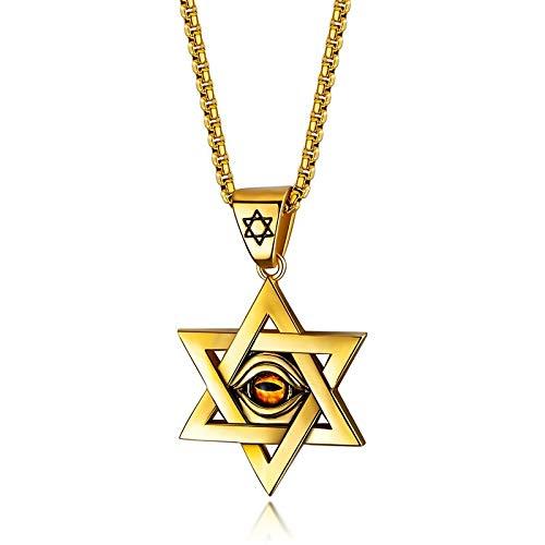 GBX Collar con colgante de estrella hexagonal para hombre, diseño de ojo de demonio, de acero inoxidable, con colgante de moda, regalo de oro