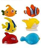 WISHKEY Chu Chu Bath Toys for Baby Aquatic Fish Animals Set of 6 Non Toxic BPA Free Toy ( Multicolor )