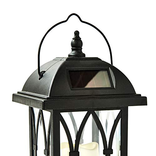 Outdoor Hanging Solar Lantern - 11 Inch Black Lantern with Solar Powered LED Candle, Waterproof, Dusk to Dawn Timer, Gothic Style, Outdoor Halloween Decor