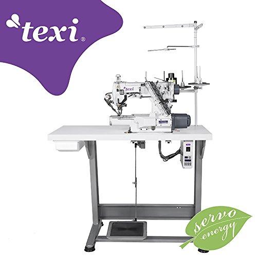 TEXI Industrienähmaschine Coverlock Maschine Interlock - Tshirt - Freiarm - mit Fadenabschneider - Industrie Industrielle Nähmaschine - KOMPLETT (mit Tisch & Gestell)