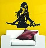 Wall Vinyl Decals Samurai Schoolgirl Katana Japanese Akai Anime Vinyl Wall Sticker Batan Saionji Made in USA