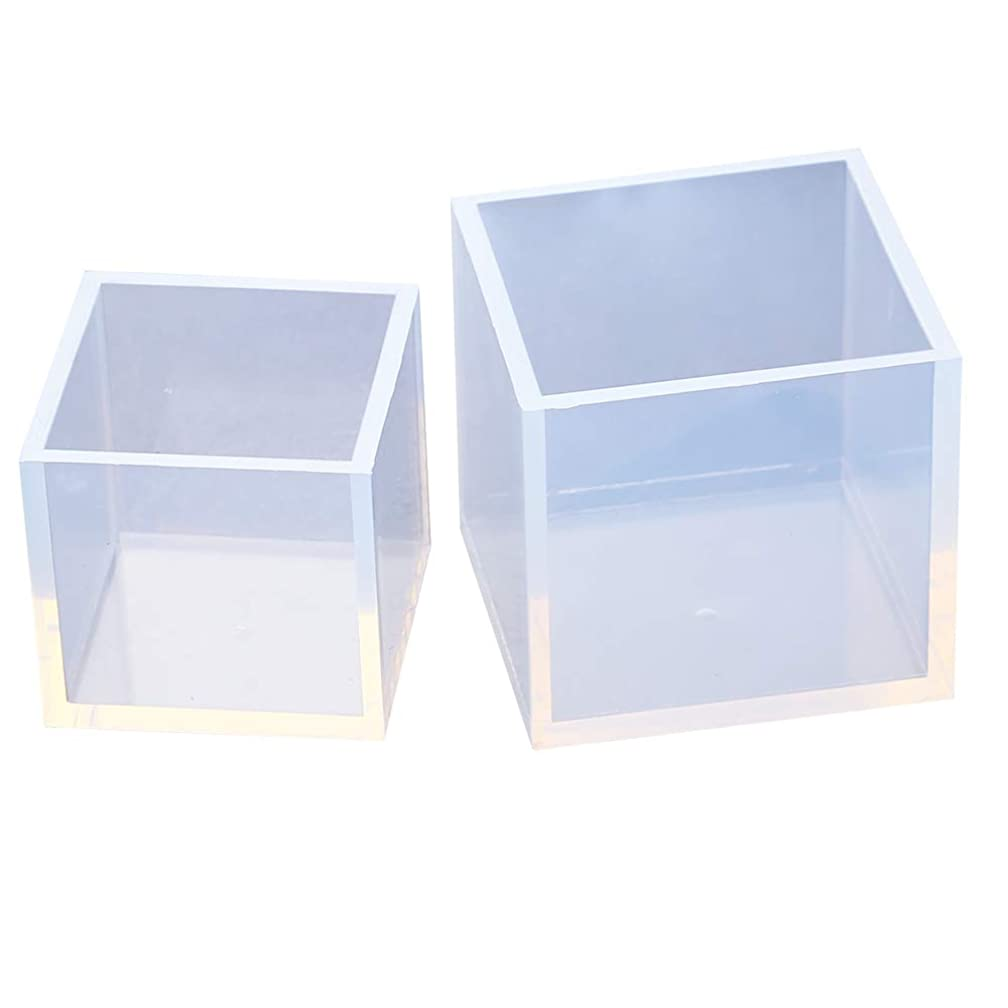 VTurboWay 2 Pack DIY Square Resin Mold, Cube Silicone Molds, Size 5cm and 4cm