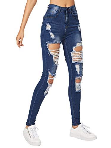 Milumia Women's Casual Mid Waist Skinny Slim Ripped Jeans Denim Pants Blue-2 S