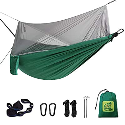 MIZTLI ?Upgraded? Hammock Camping with Mosquito Net. One Line Bug Net Design Indoor/Outdoor Hammock with Tree Straps. Fast & Easy Assembly. Perfect for Camping, Backpacking, Travel, Hiking.