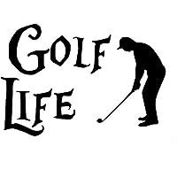 Kojp 17.8CM X 12.2CMゴルフゴルファーの人生は面白いビニールの車のバンパーステッカーデカール (Color : Black)