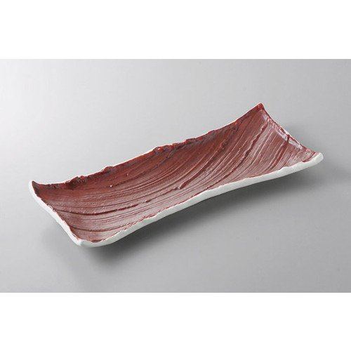 あゆ・さんま皿 朱刷毛粉引細長皿(小) [31 x 12.7 x 3cm] 料亭 旅館 和食器 飲食店 業務用
