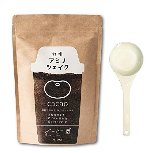 九州アミノシェイク ソフトプロテイン 300g 計量スプーン付き 植物性原料100% 九州産 モリンガ きな粉 ソイプロテイン プロテイン (カカオ味 1袋) 大豆タンパク質