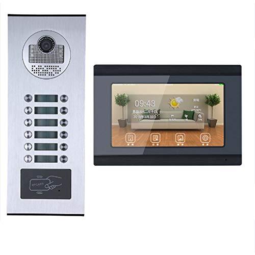 HBHYQ 7inch Enregistrement Wired WiFi 12 Appartement/Famille vidéophone Interphone RFID Caméra...