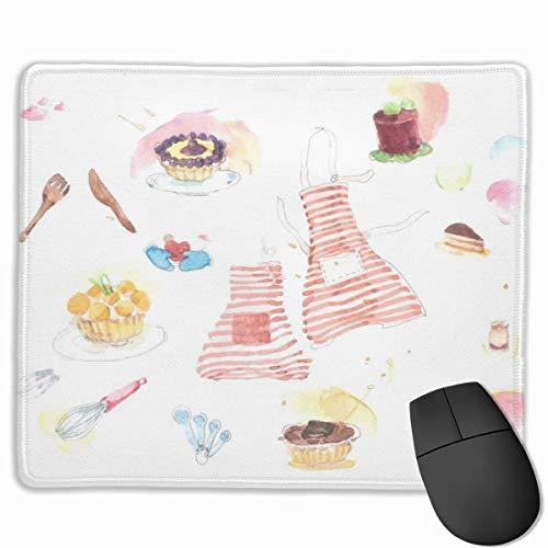 Aquarell Küchengeräte Rechteckige rutschfeste Gaming-Mauspad Tastatur Tastatur Gummi-Mauspad für Heim- und Büro-Laptops