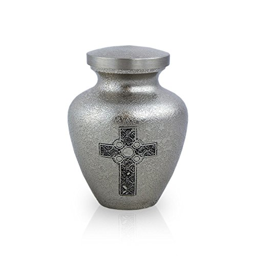 OneWorld Memorials Celtic Cross Bronze Keepsake Urns - Extra Small - Holds Up to 5 Cubic Inches of Ashes - Pewter Silver Cremation Urn for Ashes