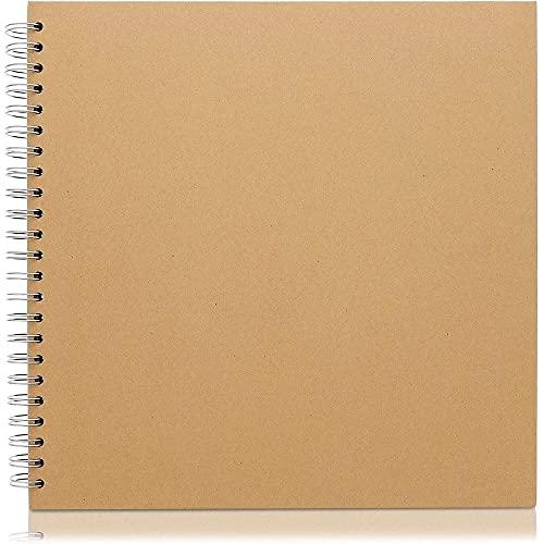 Paper Junkie Hardcover-Ringbuch - Quadratisch - Ideal als Fotoalbum, Gästebuch für Hochzeit, Verlobungsparty, Festliche Events - Braun, 40 Blatt (Kraftpapier-Braun) 30,5 x 30,5 cm