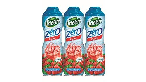 Pack de 3 sirops Teisseire 0% de sucre fraise - 3 x 60 cl